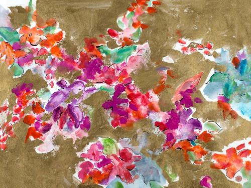 Spring Florals on Gold Poster Print by L. Hewitt - Item # VARPDX13238A