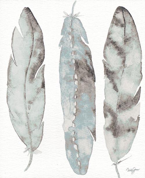 Three Blue Feathers Poster Print by Nola James - Item # VARPDX11603XX