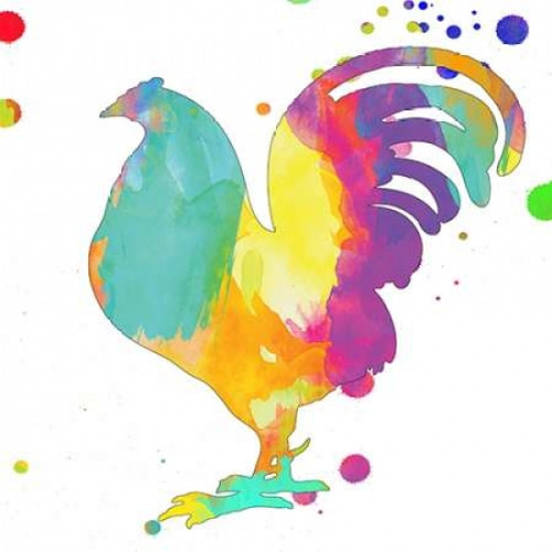 Color Rush Rooster Poster Print by Sheldon Lewis - Item # VARPDXSLBSQ211B1