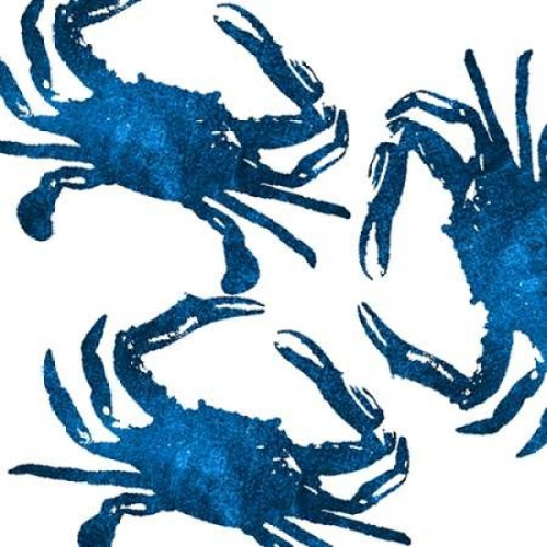 Navy Crab Collage Poster Print by Victoria Brown - Item # VARPDXVBSQ054B