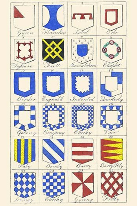 Heraldry Blazonry vintage art reproduction by Buyenlarge One of many rare and wonderful images brought forward in time I hope they bring you pleasure each and every time you look at