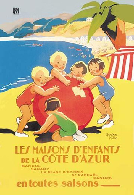 Prolific illustrator and graphic artist, Beatrice Mallet, did many postcards and ads.  Originally English, she moved to France.  This playful beach scene was a great travel poster for the French coast. Poster Print by Beatrice Mallet - Item # VARBLL0
