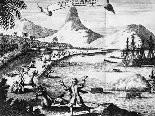 Guadeloupe, 17Th Century. /Na Shore Party From The Spanish Fleet Ambushed By Carib Indians On The Island Of Guadeloupe. Line Engraving From A Late 17Th Century Dutch Edition Of Thomas Gage'S 'Travel'S In The New World.' Poster Print by Granger Collec