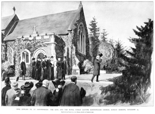 Edward Vii (1840-1910). /Nking Of England, 1901-1910. Edward Vii And The Royal Family Leaving Saint Mary Magdalene Church In Sandringham, Norfolk, England, 14 November 1901. Contemporary English Illustration. Poster Print by Granger Collection - Item