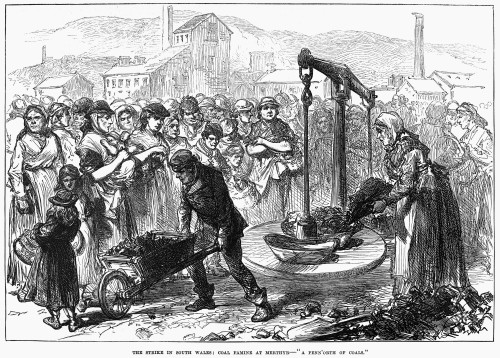 """Coal Miners' Strike, 1873. /N'The Strike In South Wales: Coal Famine At Merthyr - """"A Penn'Orth Of Coals.""""' Rationing Of Coal During The Miners' Strike In South Wales, 1873. Contemporary English Engraving. Poster Print by Granger Collection - Item # V"""
