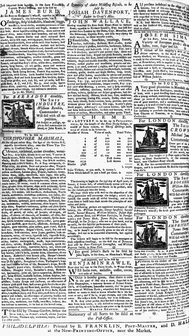 Pennsylvania Gazette, C1749. /Nclassified Advertisements, Including Ads For Ship Departures And A Lottery, From An Edition Of The Pennsylvania Gazette, Published By Benjamin Franklin At Philadelphia, C1749. Poster Print by Granger Collection - Item #