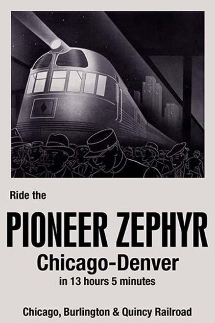 On May 26, 1934, the Pioneer Zephyr, a new stainless steel diesel locomotive from the Chicago, Burlington and Quincy railroad, set a new speed record between Chicago and Denver.  It covered the distance in 13 hours and 5 minutes. Poster Print by Pari