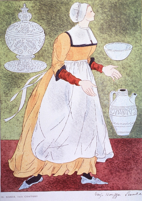 16th Century Nurse.  Taken from a 1962 pharmaceutical company promotion reproducing the distinctive garb of the medical and related professions from the time of Hippocrates to the Napoleonic era. Poster Print by Warja Honegger-Lavater - Item # VARBLL