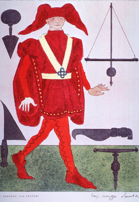14th Century Surgeon's Costume.  Taken from a 1962 pharmaceutical company promotion reproducing the distinctive garb of the medical and related professions from the time of Hippocrates to the Napoleonic era. Poster Print by Warja Honegger-Lavater - I