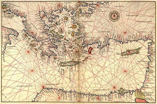 Portolan or Navigational Map of Greece, the Mediterranean and the Levant.  Done in 1544 by the Italian cartographer Battista Agnese.  Battista Agnese was a cartographer from the Republic of Genoa, who worked in the Venetian Republic. Poster Print by
