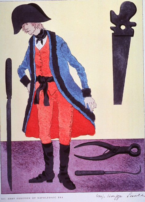 Napoleonic Era Army Surgeon.  Taken from a 1962 pharmaceutical company promotion reproducing the distinctive garb of the medical and related professions from the time of Hippocrates to the Napoleonic era. Poster Print by Warja Honegger-Lavater - Item