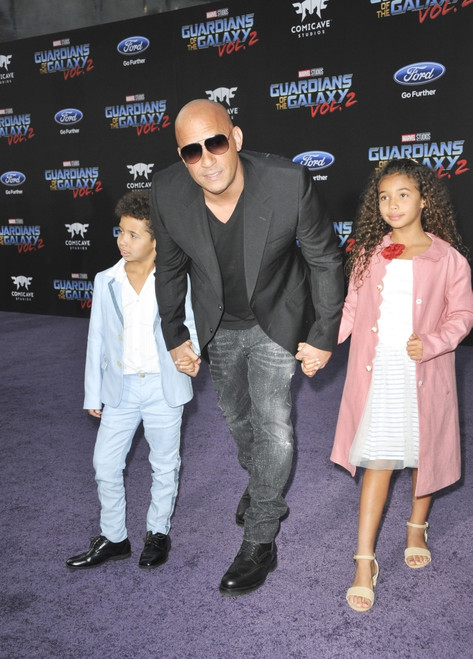 Vincent Sinclair, Vin Diesel, Hania Riley Sinclair At Arrivals For Guardians Of The Galaxy Vol. 2 Premiere, The Dolby Theatre At Hollywood And Highland Center, Los Angeles, Ca April 19, 2017. Photo By Elizabeth GoodenoughEverett - Item # VAREVC1719A0