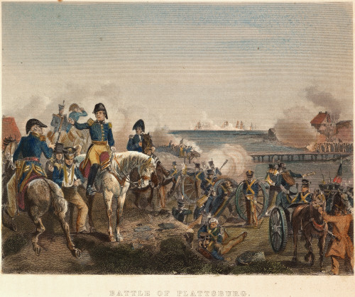 British Defeat, 1814. /Nland Forces Under General Alexander Macomb Repulse The British At Plattsburg While Thomas Macdonough'S Fleet Defeats And Captures The British Squadron On Lake Champlain, 11 September 1814: Colored Engraving, 19Th Century. Post