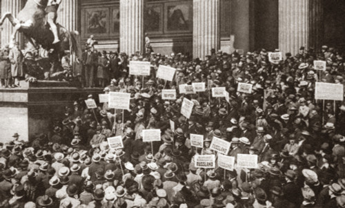 World War I: Berlin, C1919. /Ndr. Friedrich Naumann Addressing A Crowd Of Foreign Born German Citizens Protesting The Terms Of The Treaty Of Versailles Outside Of The Berlin Museum, Germany. Photograph, C1919. Poster Print by Granger Collection - Ite