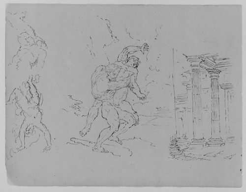 """Hercules and Antoneus; Fall of Phaetor (Icarus); Classical Architecture; Sacrifice of Isaac [] (after Rembrandt) (from Sketchbook) Poster Print by Thomas Sully (American  Horncastle  Lincolnshire 1783  """"1872 Philadelphia  Pennsylvania) (18 x 24) - It"""