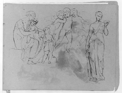 """Madonna With Christ and John Baptist []; Three Cherubs; Standing Classical Female Figure  Holding Bowl (from Sketchbook) Poster Print by Thomas Sully (American  Horncastle  Lincolnshire 1783  """"1872 Philadelphia  Pennsylvania) (18 x 24) - Item # MET16"""