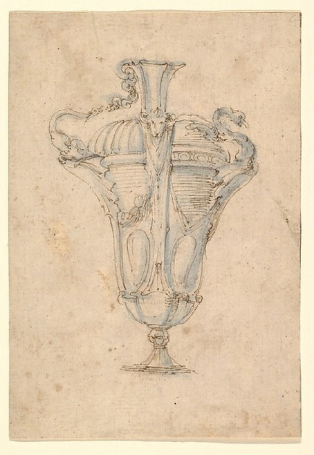 """Design for a Ewer with Alternative Ideas for Fluted Decoration  a Handle in the Form of a Swan Attacking a Serpent  and a Spout in the Form of a Swan Poster Print by Stefano della Bella (Italian  Florence 1610  """"1664 Florence) (18 x 24) - Item # MET3"""