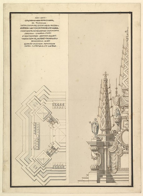 Design for Half Elevation and Half Ground Plan of a Catafalque for Countess Palatine of the Rhine  Theresia Catharine  wife of Count Palatine  Charles Philip III (1716-1742). Poster Print by Workshop of Giuseppe Galli Bibiena (18 x 24) - Item # MET34