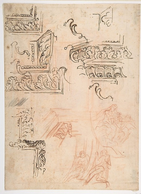 Studies of Architectural Moldings  of the Virgin and Child with a Kneeling Saint  and of Two Angels Supporting Frames (recto); Studies for Architectural Mouldings (verso) Poster Print by Baldassarre Franceschini (il Volterrano) (Italian  Volterra 161
