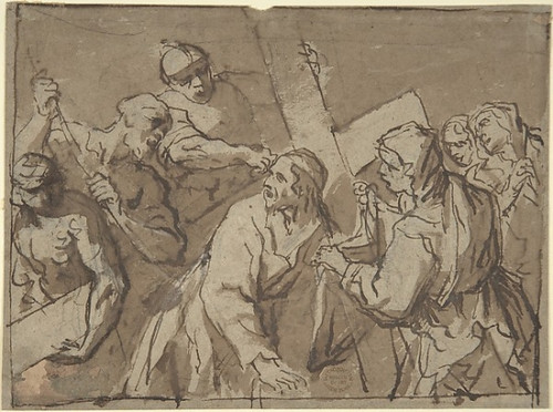 Christ Bearing the Cross Poster Print by Anonymous  Italian  Roman-Bolognese  17th century Date: 17th century Medium: Pen and brown ink  brush and brown wash  over black chalk on brown paper. Framing outlines in pen and brown ink Dimensions: 6-1/4 x