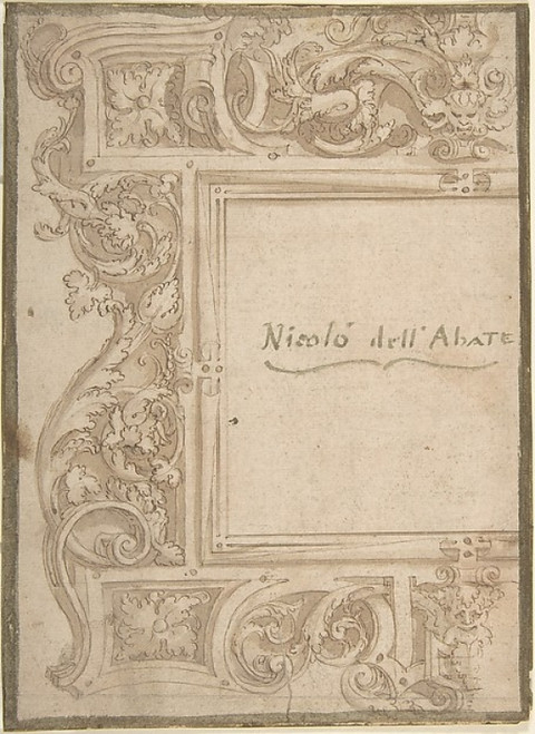 """Design for a Cartouche (recto); Fragments of the Plan of a Building (Church) (verso); two separate sheets glued back to back Poster Print by Anonymous  Italian  16th century (Italian  active Central Italy  ca. 1550  """"1580) (18 x 24) - Item # MET34327"""