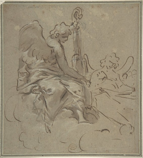 Two Angels Poster Print by Anonymous  Italian  first half of the 18th century Date: 18th century Medium: Pen and brown ink  brush and brown wash  over black chalk  highlighted with white chalk over blue-gray paper faded to light brown Dimensions: 8-1