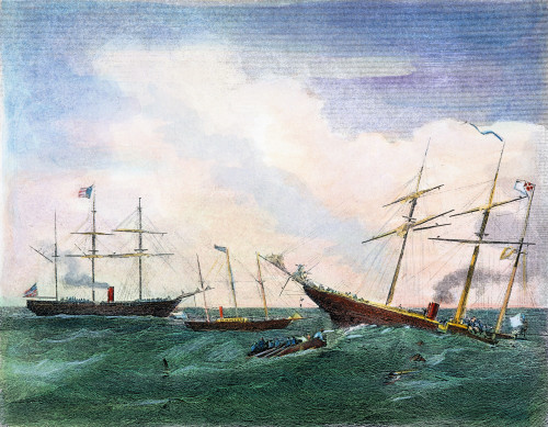 Alabama Vs Kearsarge, 1864. /Nthe Sinking Of The C.S.S Alabama By The U.S.S. Kearsarge And The Rescue Of The Crew Of The Alabama By U.S.S Deerhound Off Cherbourg, France, 19 June 1864. Steel Engraving, American, 1864. Poster Print by Granger Collecti