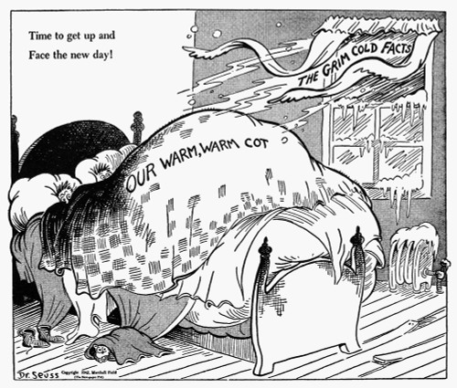Cartoon: World War Ii. /N'Time To Get Up And Face The New Day!' American Cartoon By Dr. Seuss (Theodor Geisel) For 'Pm,' 24 February 1942, On The Importance Of Helping The Allied Effort In World War Ii. Poster Print by Granger Collection - Item # VAR