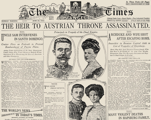 Ferdinand Assassination. /Nthe Front Page Of 'The Los Angeles Times' On The Day Following The Assassination Of Archduke Franz Ferdinand And His Wife, Archduchess Sophie, At Sarajevo, Bosnia, On 28 June 1914. Poster Print by Granger Collection - Item