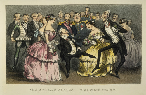 Napoleon Iii At A Ball. /N'A Ball At The Palace Of The Elysee.' Cartoon, 1851, Showing Napoleon Iii (Center, With Purple Sash) And His Cousin, Prince Napoleon, Observing The Political Dance Of French Statesmen Louis Adolphe Thiers And Andr_ Dupin. Po