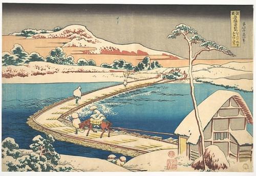 Item # MET53699 Old View of the Boat-bridge at Sano in Kozuke Province (Kozuke Sano funabashi no kozu)  from the series Remarkable Views of Bridges in Various Provinces (Shokoku meikyo kiran) Poster Print by Katsushika Hokusai (Japanese  Tokyo (Edo)
