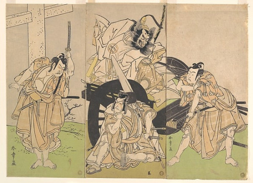 Item # MET48895 Kabuki Actors Ichikawa Yaozo II  Nakajima Mihoemon II  Ichikawa Ebizo III  and Ichimura Uzaemon IX in the Play Sugawara  �s Secrets of Calligraphy (Sugawara denju tenarai kagami) Poster Print by Katsukawa Shunsho (Circa 1792) (18 x 24