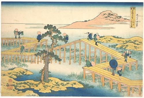 Item # MET53793 Ancient View of Yatsuhashi in Mikawa Province (Mikawa no Yatsuhashi no kozu)  from the series Remarkable Views of Bridges in Various Provinces (Shokoku meikyo kiran) Poster Print by Katsushika Hokusai (Japanese  Tokyo (Edo) 1760  �184