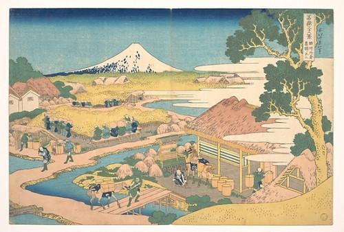 Item # MET37320 Fuji from the Katakura Tea Fields in Suruga (Sunshu Katakura chaen no Fuji)  from the series Thirty-six Views of Mount Fuji (Fugaku sanjurokkei) Poster Print by Katsushika Hokusai (Japanese  Tokyo (Edo) 1760  �1849 Tokyo (Edo)) (18 x