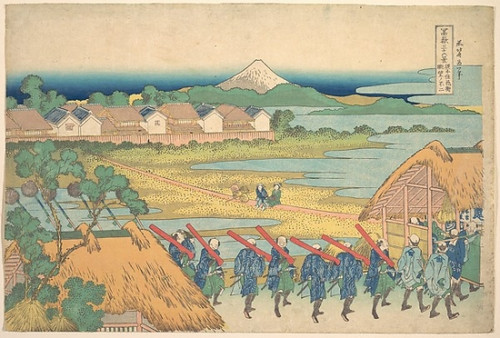 Item # MET56391 Fuji Seen in the Distance from Senju Pleasure Quarter (Senju kagai yori chobo no Fuji)  from the series Thirty-six Views of Mount Fuji (Fugaku sanjurokkei) Poster Print by Katsushika Hokusai (Japanese  Tokyo (Edo) 1760  �1849 Tokyo (E