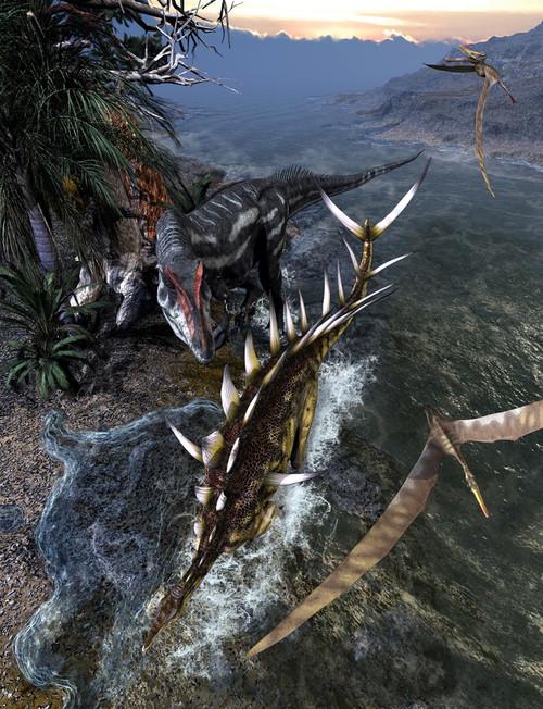 Allosaurus dinosaur chasing down a Kentrosaurus. Poster Print by Kurt Miller/Stocktrek Images - Item # VARPSTKRT600023P