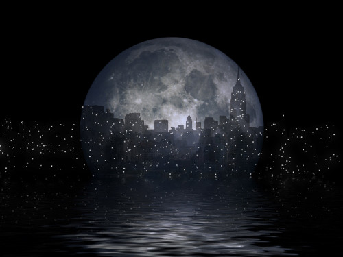 New York city silhouettes reflects in the moon. 3D rendering Poster Print by Bruce Rolff/Stocktrek Images - Item # VARPSTRFF200736S