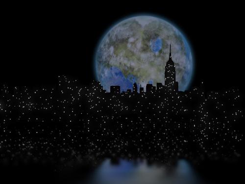3D rendering. Terraformed moon over night city. Poster Print by Bruce Rolff/Stocktrek Images - Item # VARPSTRFF200790S