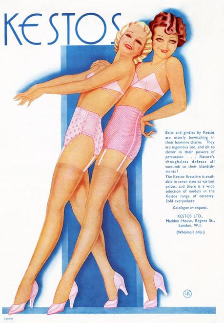 1934 Advert For Kestos Lingerie. Poster Print by Ken Welsh / Design Pics - Item # VARDPI12280452