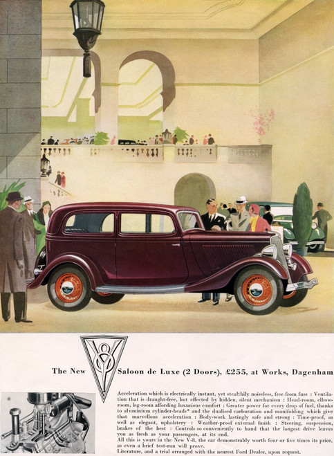 1934 Advertisement For The New Ford Two Doors V-8 Saloon De Luxe. Poster Print by Ken Welsh / Design Pics - Item # VARDPI12280454