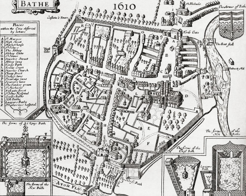 17Th Century Map Of Bath, Somerset, England. From Our Own Country Published 1898 Poster Print by Ken Welsh / Design Pics - Item # VARDPI1957878