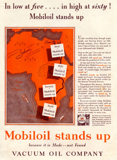 1930's American Advertisement For The Mobiloil Vacuum Oil Company. From The Literary Digest, Published 1931. Poster Print by Ken Welsh / Design Pics - Item # VARDPI12280438