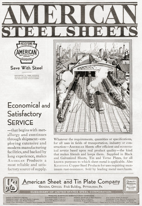 1930's Advertisement For American Steel Sheets From The American Sheet And Tin Plate Company. From The Literary Digest, Published 1930. Poster Print by Ken Welsh / Design Pics - Item # VARDPI12280431