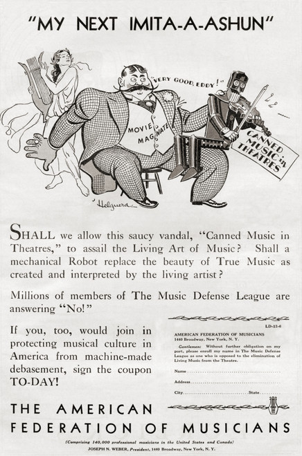 1930's American Advertisement From American Federation Musicians Inviting People Who Are Opposed To Elimination Live Music From Theatre To Sign Coupon To Protect Musical Culture From Literary Digest Published 1930 Ken Welsh # VARDPI12280428