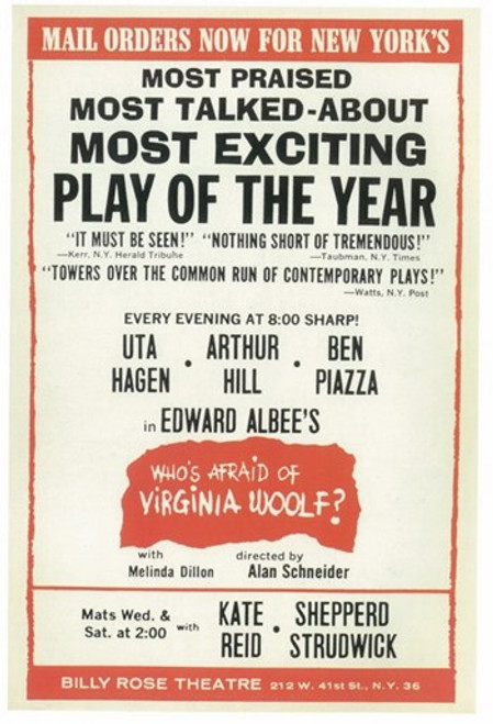 Who's Afraid Of Virginia Woolf (Broadway) Movie Poster (11 x 17) - Item # MOV407421