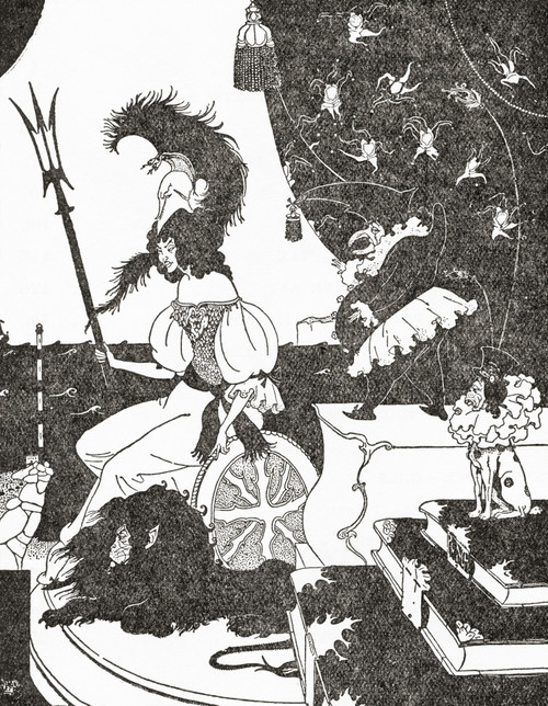 """""""britannia  La Beardsley"""" Punch Artist Etreed's Depiction Of Britannia As Beardsley Might Have Drawn Her Aubrey Vincent Beardsley 1872 1898 English Illustrator And Author From The Eighteen Nineties Published 1931 Poster Ken Welsh # VARDPI12280250"""