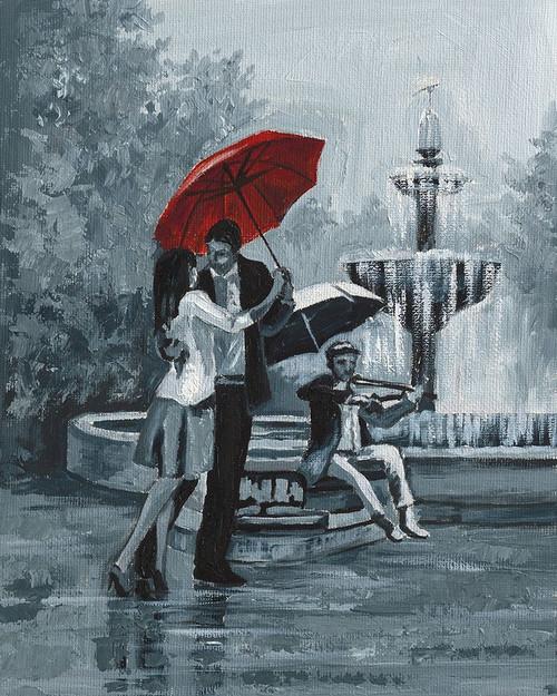 Romance under Red Umbrella I Poster Print by Land Art Studio Land Art Studio - Item # VARPDX3BUR486L