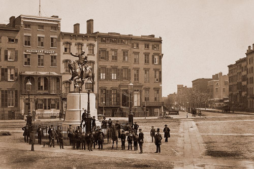 14th Street with Union Square and Washington Monument, about 1855 Poster Print by Silas A. Holmes - Item # VARPDX455348