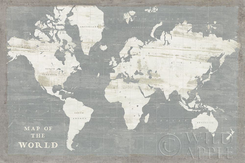 Slate World Map Poster Print by Sue Schlabach - Item # VARPDX51520