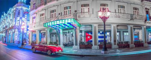 Vintage car outside hotel Inglatera, Havana, Cuba, FTBR 1850 Poster Print by Assaf Frank - Item # VARPDXAF201801231204P